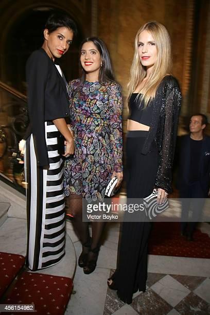 Princess Deena Aljuhani Abdulaziz Noor Fares and Eugenie Niarchos attend Aquazzura cocktail party Hosted by Edgardo Osorio at Hotel Le Marois on...