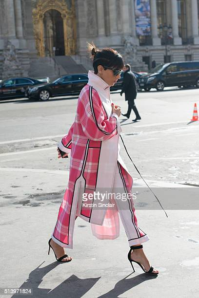 Princess Deena Aljuhani Abdulaziz wears an Acne outfit on day 2 during Paris Fashion Week Autumn/Winter 2016/17 on March 2 2016 in Paris France...
