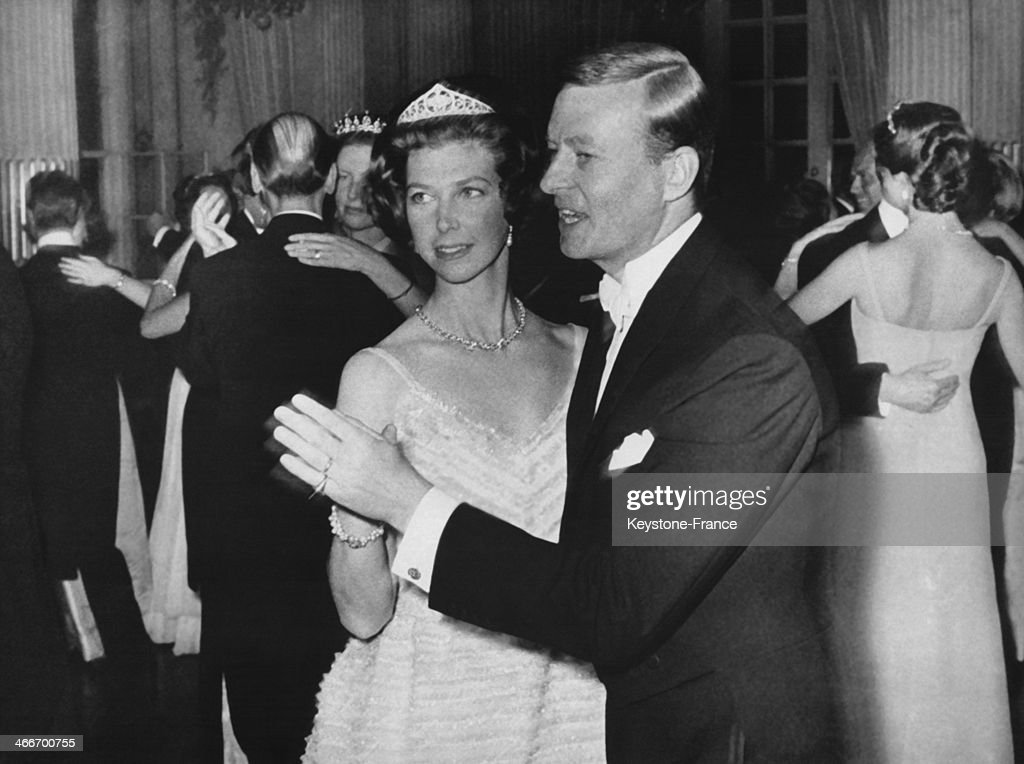 Princess Desiree of Sweden and her husband Baron Nicolas Silfverschiold dance the first dance during the ball given in their honour on their wedding day on June 06, 1964 in Stockholm, Sweden.