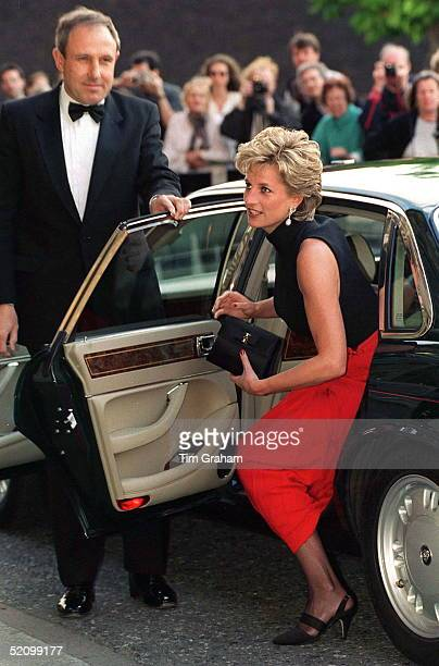 Princess Diana Alighting Her Car For A Pavarotti Concert At The Royal Albert Hall In Aid Of The Red Cross 125th Birthday Appeal The Princess Is...