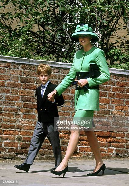 Princess Diana and her son Prince Harry arriving at Windsor Chapel for the wedding of Lady Helen Windsor and art dealer Tim Taylor 18th July 1992