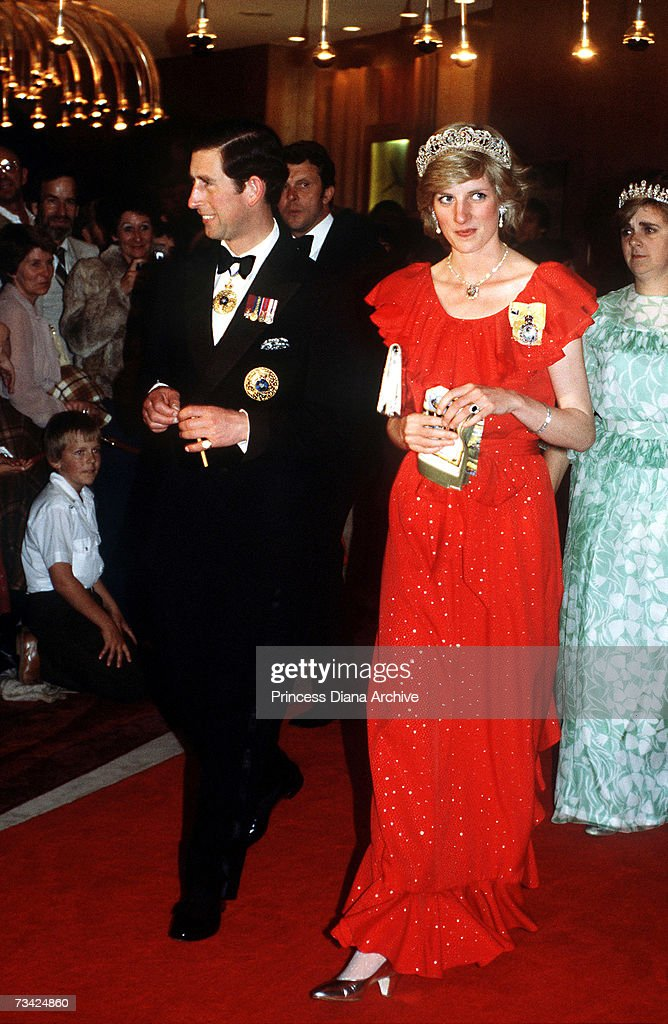 Princess Diana (1961 - 1997) and Prince Charles arrive for a state reception in Hobart, Tasmania, 30th March 1983. The princess is wearing the Spencer family tiara and a dress by Bruce Oldfield.