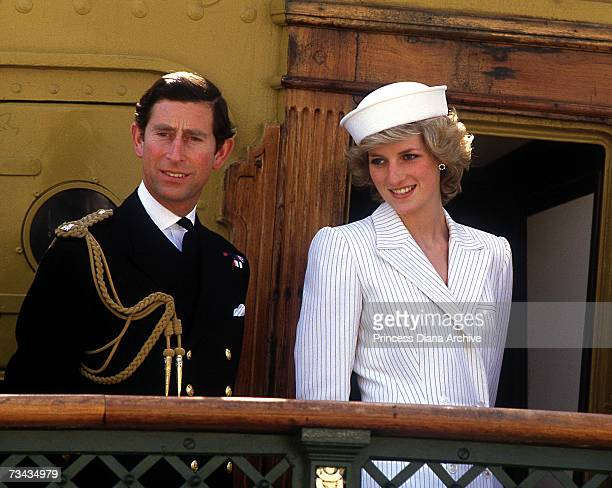 Princess Diana and Prince Charles at an Italian naval base at La Spezia 20th April 1985 Charles is wearing a naval Commander's uniform while Diana is...