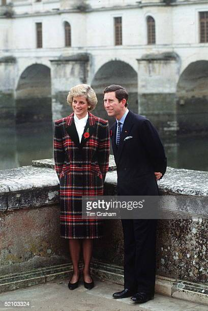 Princess Diana And Prince Charles At Chenonceaux During A Visit To France