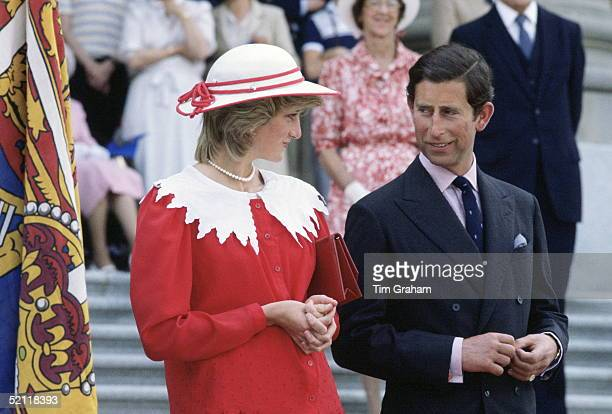 Princess Diana And Prince Charles In Edmonton During An Official Visit Of Canada