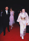 Princess Diana and Prince Charles on their way to to a dinner in Kyoto Japan 9th May 1986 The princess is wearing a dress by Zandra Rhodes