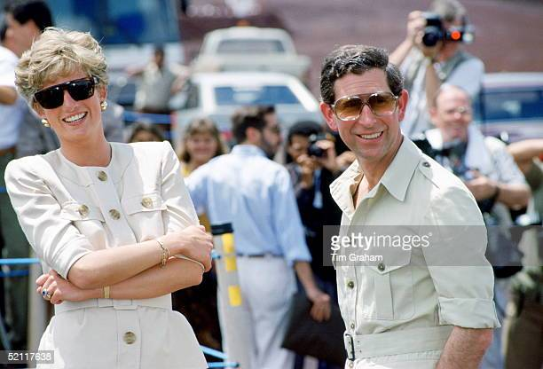 Princess Diana And Prince Charles Visiting A Mining Centre In Carajas Brazil