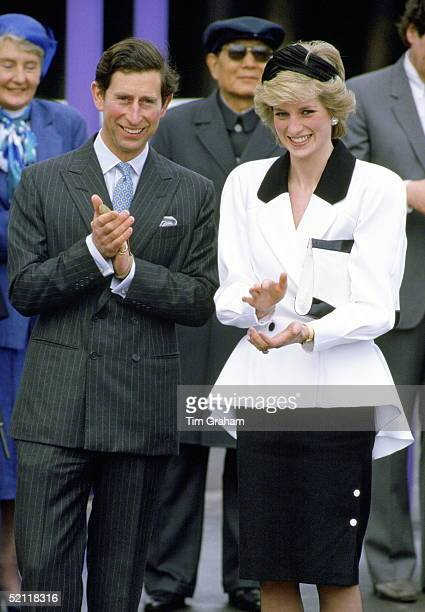Princess Diana And Prince Charles Visiting Expo'86 In Vancouver Canada Diana's Outfit Is By Designer Bruce Oldfield