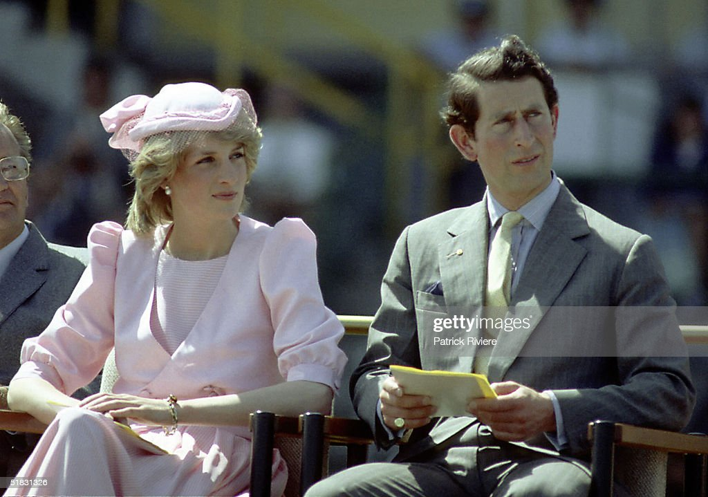 Princess Diana And Prince Charles watch an official event during their first royal Australian tour 1983 IN Newcastle Austrlia