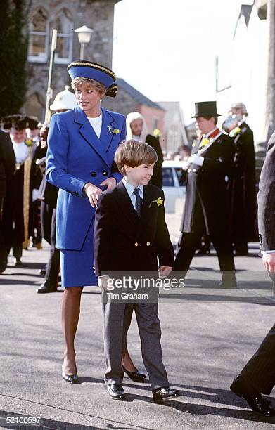 Princess Diana And Prince William In Wales For Traditional St David's Day 1st March