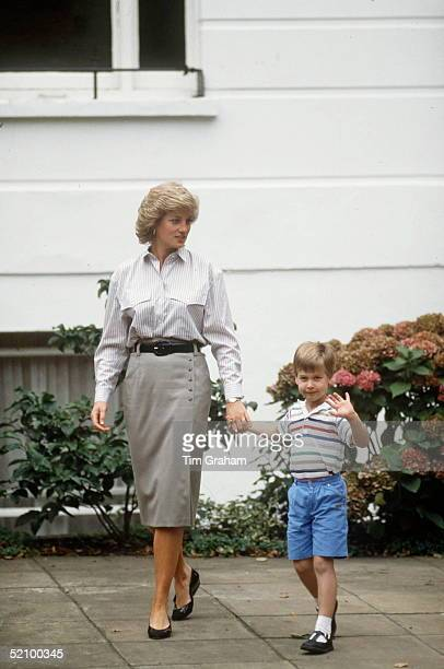 Princess Diana And Prince William Leaving After Delivering Prince Harry To Mrs Mynor's Nursery School