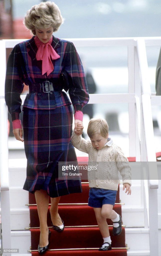 Princess Diana And Prince William Leaving The Royal Yacht Britannia In Aberdeen.