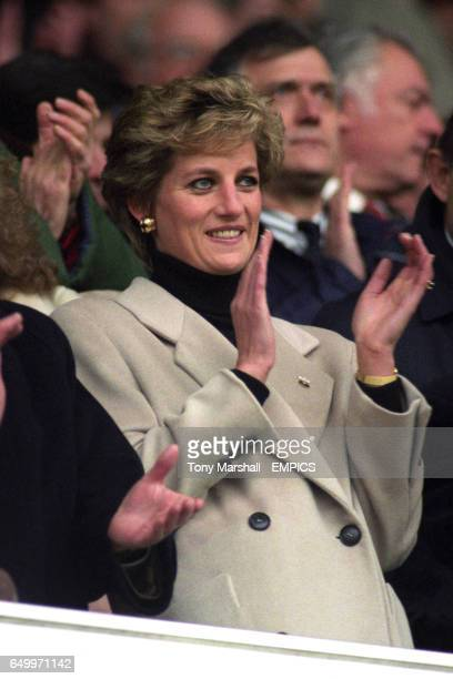 Princess Diana applauds the teams before the kick off