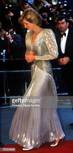 Princess Diana arrives for the London premiere of the James Bond film 'A View To A Kill' at the Empire Leicester Square July 1985 She is wearing a...