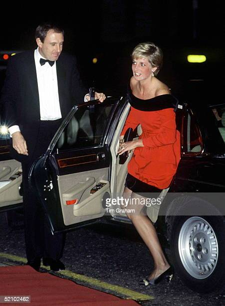 Princess Diana Arriving At The Aldwych Theatre For A Performance Of 'private Lives' With Her Is Her Bodyguard Dave Sharp