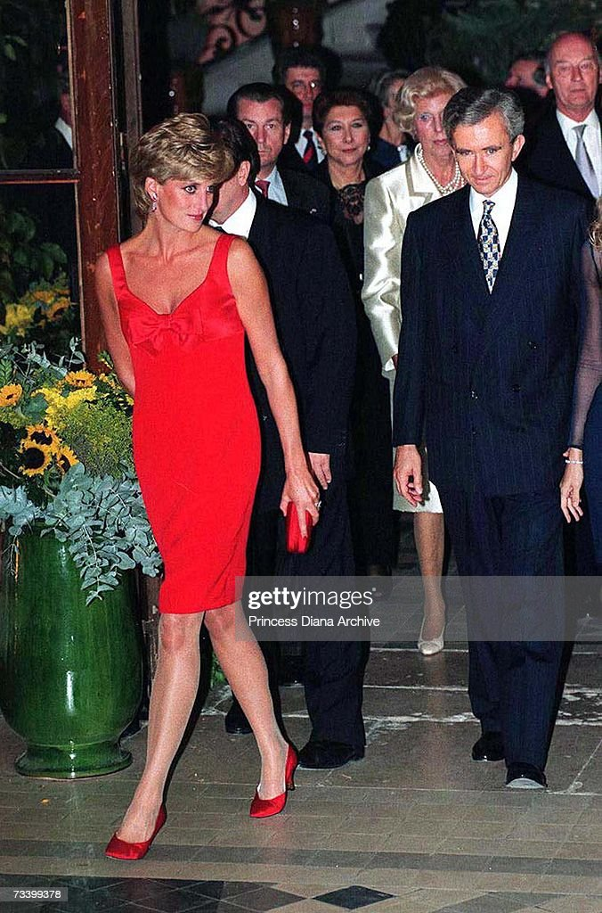 Princess Diana (1961 - 1997) arriving at the Petit Palais, Paris, for a gala dinner, September 1995. She is wearing a dress by Christian Lacroix.