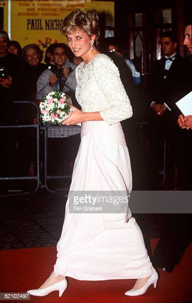 Princess Diana Arriving At The Royal Variety Performance Dominion Theatre London Diana's Dress Is By Fashion Designer Catherine Walker