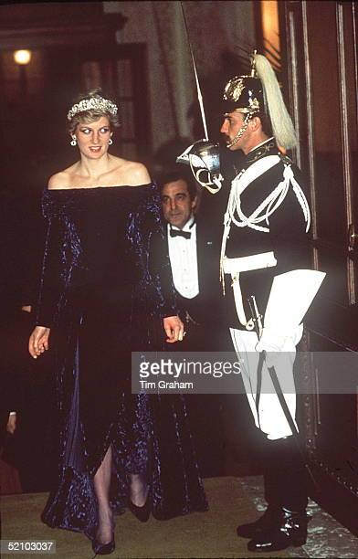 Princess Diana Arriving For A Dinner Hosted By The Presidentat The Ajuda Palace In Lisbonportugal Wearing A Crushed Velvet Purple Evening Dress...