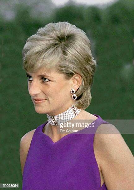 Princess Diana Arriving For Fundraising Gala Dinner In Chicago In A Purple Dress Designed By Fashion Designers Versace