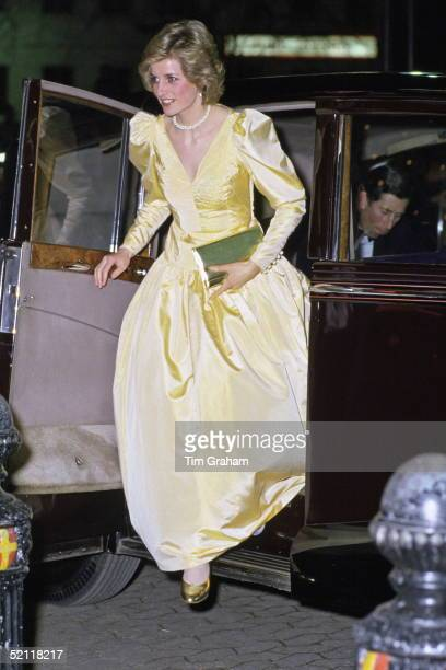 Princess Diana Arriving In Rolls Royce Limousine Car For The Premiere Of The Film 2010 In London Wearing A Satin Evening Dress Designed By Fashion...
