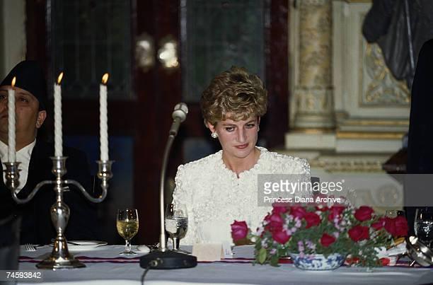 Princess Diana at a banquet given by Crown Prince Dipendra of Nepal at the Royal Palace in Kathmandu 3rd March 1993