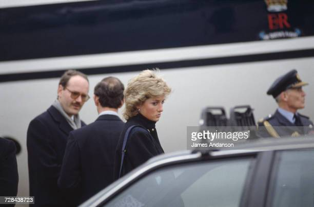 Princess Diana at a Swiss airport on her way home from a skiing holiday in Klosters Switzerland 11th March 1988