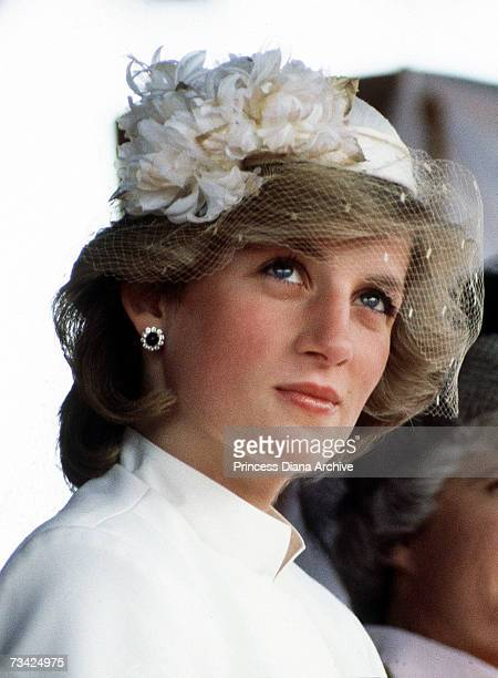 Princess Diana at a welcome ceremony in Tauranga Tasmania 31st March 1983 She is wearing a Jasper Conran suit and a veiled hat by John Boyd