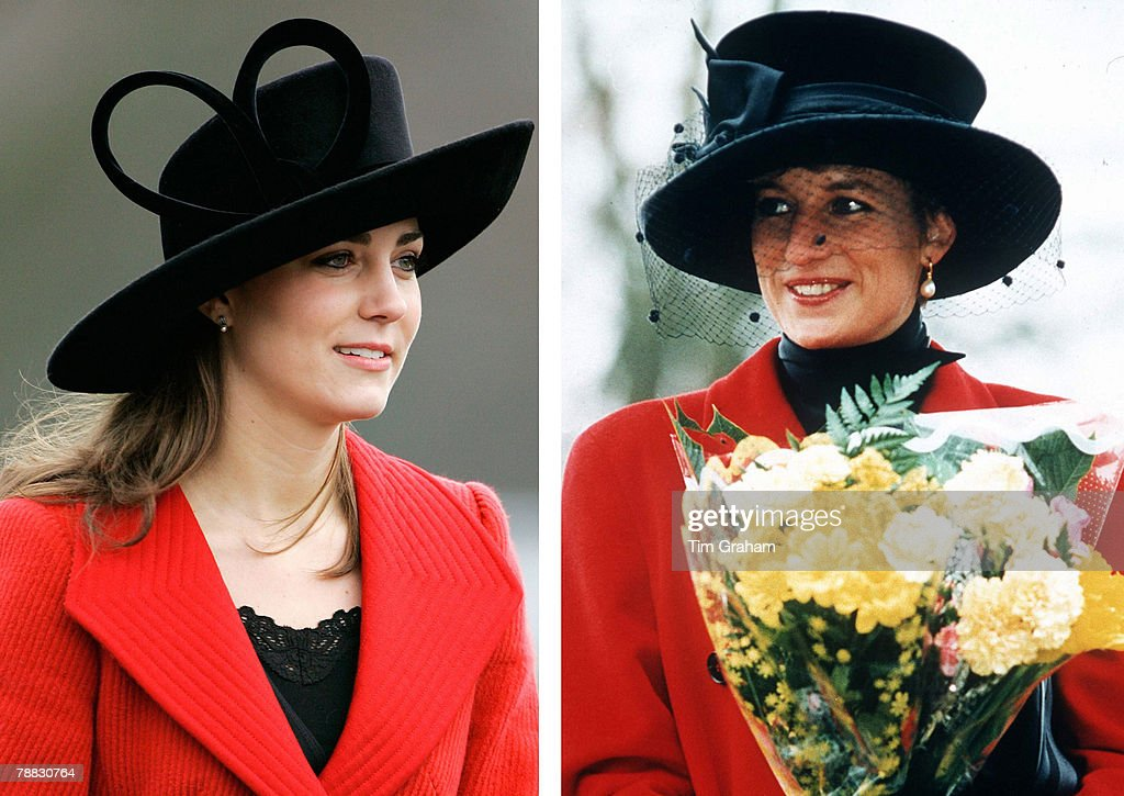 In this photo composite image a comparison has been made between, Left; SURREY, ENGLAND - DECEMBER 15: Kate Middleton, Prince William's girlfriend, attends the Sovereign's Parade at Sandhurst Military Academy to watch the passing-out parade on December 15, 2006 in Surrey, England. (Photo by Tim Graham/Getty Images) and Right; SANDRINGHAM, UNITED KINGDOM - DECEMBER 25: Princess Diana At Sandringham On Christmas Day. The Princess Is Wearing A Red Coat And A Broad-brimmed Black Hat. She Is Carrying A Bouquet Of Flowers. (Photo by Tim Graham Picture Library/Getty Images). Kate Middleton will be celebrating her 26th Birthday on January 9, 2008.