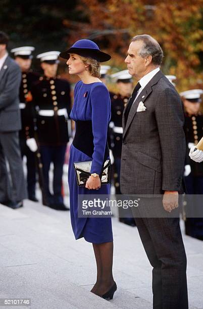 Princess Diana At The Arlington National Cemetery In Washington USA The Outfit She Is Wearing Was Designed By Fashion Designer Bruce Oldfield She Is...