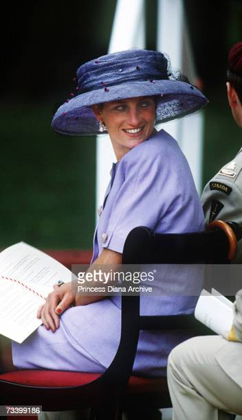 Princess Diana at the Canadian memorial dedication in Green Park London June 1994 She is wearing a suit by Catherine Walker and hat by Philip...