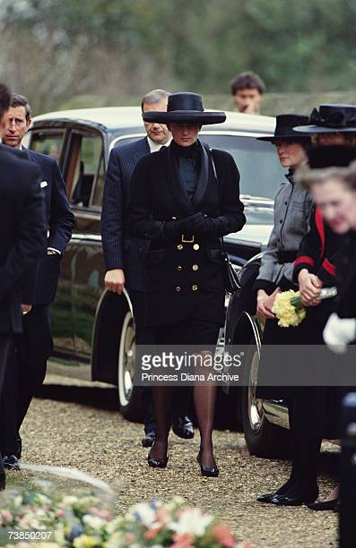 Princess Diana at the funeral of her father Earl Spencer at Great Brington church Northamptonshire March 1992 Prince Charles can be seen left