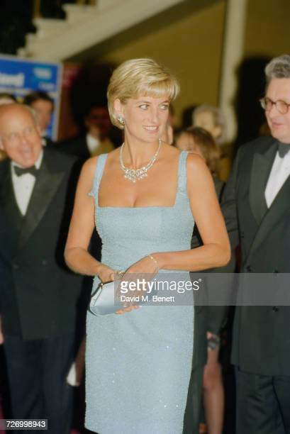 Princess Diana at the Royal Albert Hall after an English National Ballet production of 'Swan Lake' London 3rd June 1997 The Princess is wearing a...