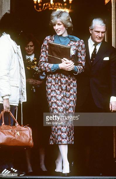 Princess Diana At The Royal Marsden Cancer Hospital Wearing An Outfit By Fashion Designers Donald Campbell