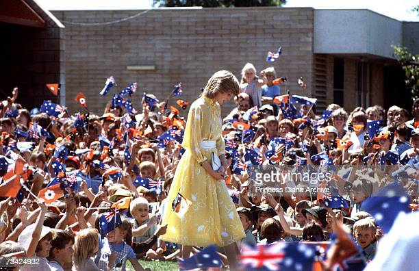 Princess Diana at the School of the Air in Alice Springs Australia 30th March 1983 She is wearing a dress by Jan van Velden