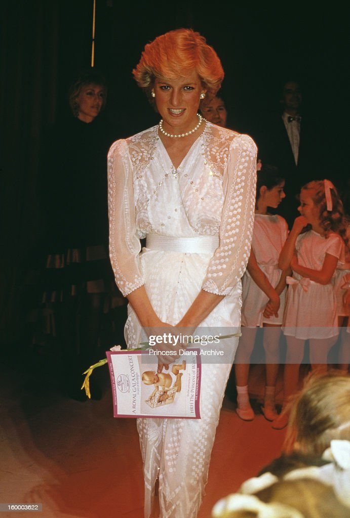 <a gi-track='captionPersonalityLinkClicked' href=/galleries/search?phrase=Princess+Diana&family=editorial&specificpeople=167066 ng-click='$event.stopPropagation()'>Princess Diana</a> (1961 - 1997) attending a charity gala in aid of Birthright, at the London Palladium, 24th June 1987. She is wearing a dress by Zandra Rhodes. Diana is patron of the charity (now called Wellbeing of Women), which raises funds for research in the field of reproductive health.