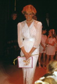 Princess Diana attending a charity gala in aid of Birthright at the London Palladium 24th June 1987 She is wearing a dress by Zandra Rhodes Diana is...