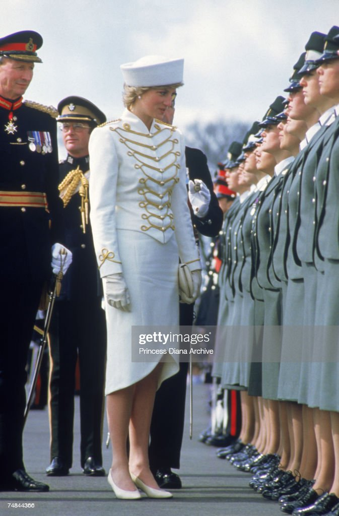 Princess Diana attending a passing out parade at Sandhurst Surrey April 1987 She is wearing a military style suit by Catherine Walker and hat by...