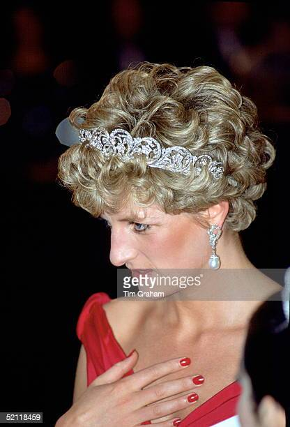 Princess Diana Attending The English National Ballet Gala Performance In Budapest She Is Wearing The Spencer Family Tiara And Has Dark Red Nail...