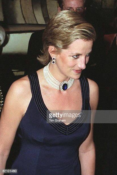 Princess Diana Attending The Fashion Awards In New York USA She Is Wearing A Dress By Fashion Designer Catherine Walker