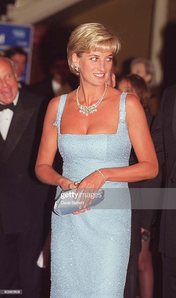 Princess Diana attends a performance of 'Swan Lake' by the English National Ballet, wearing a dress created by French designer Jacques Azagury at the Royal Albert Hall on June 3, 1997 in London, England.