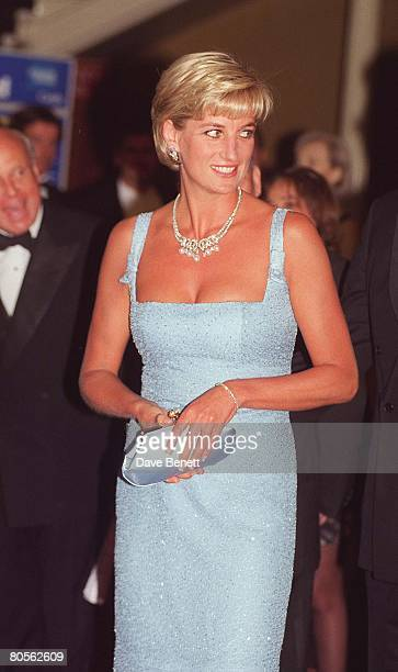 Princess Diana attends a performance of 'Swan Lake' by the English National Ballet wearing a dress created by French designer Jacques Azagury at the...