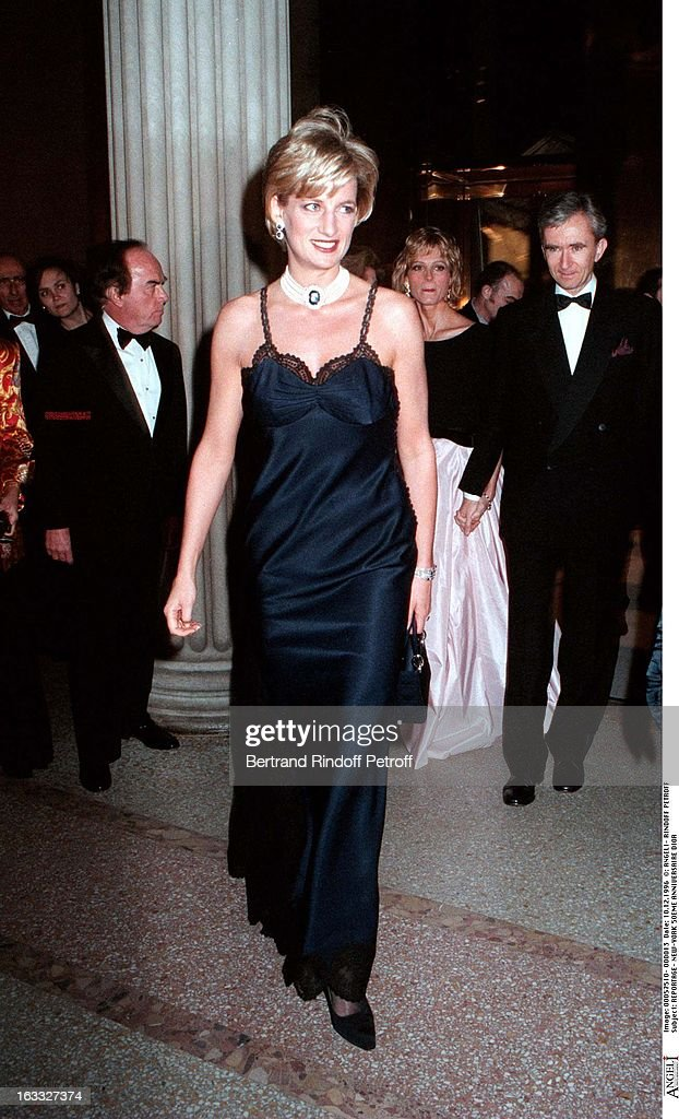 Princess Diana attends the 50th anniversary celebration of Dior in New York.