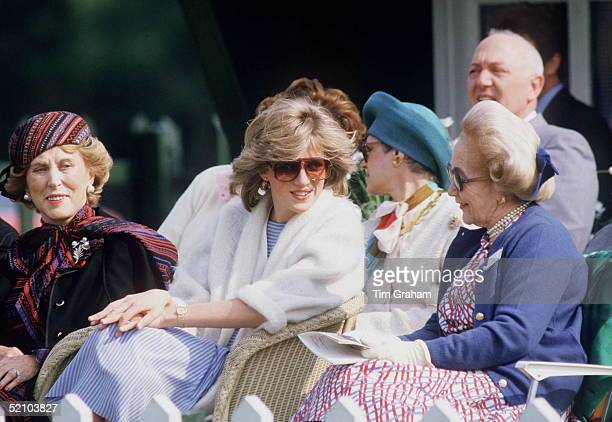 Princess Diana Chatting To Betty Kenward During A Polo Match At Guards Polo Club Windsor On Her Right Is Madame Estee Lauder