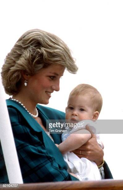 Princess Diana Cuddling Her Baby Son Prince Harry Aboard The Royal Yacht Britannia During Her Royal Tour Of Italy