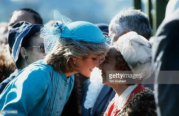 Princess Diana Doing The Tradition Hongi With A Maori Woman During A Walkabout In Wellington New Zealand