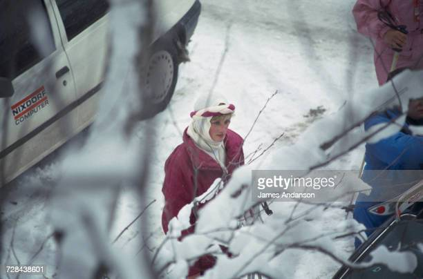Princess Diana during a skiing holiday in Klosters Switzerland 18th February 1987