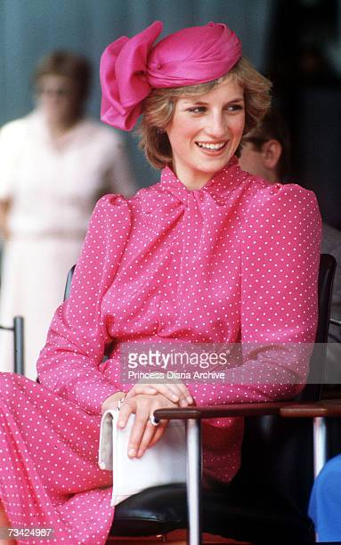 Princess Diana during a visit to Perth Australia March 1983 She is wearing a dress by Donald Campbell and a hat by John Boyd