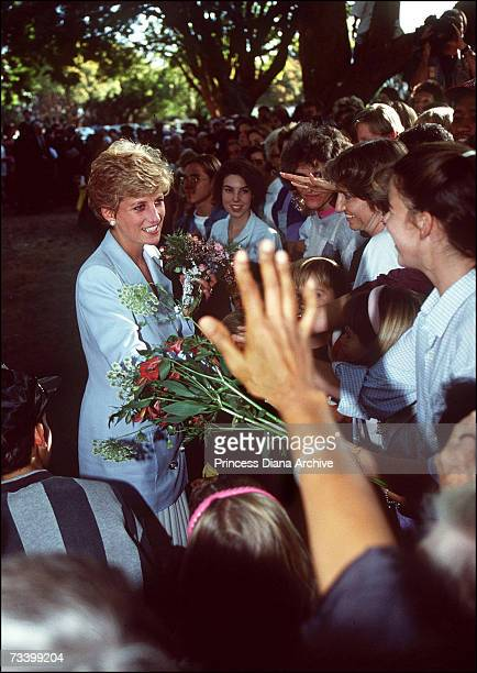 Princess Diana during a walkabout outside the headquarters of the Help The Aged charity in Harare Zimbabwe July 1993