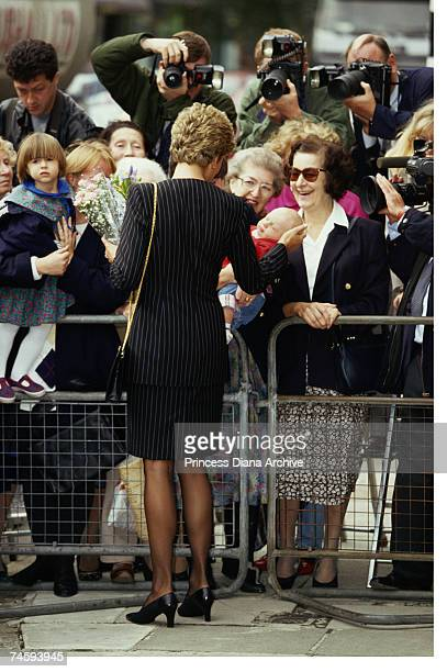 Princess Diana greeting crowds during a visit to the Missing Persons Bureau in East Sheen London 4th October 1993