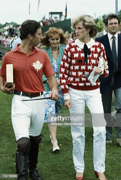 Princess Diana in a Smith's Lawn sweater with Prince Charles at a polo meeting at Windsor June 1983 With them is Sarah Ferguson